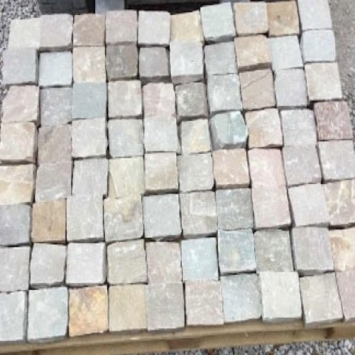 Raj Green Cobbles Exporter India Rachana Stones