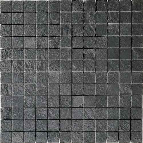 Himachal Black Brushed 48x48mm Mosaic Stone Supplier Rachana Stones India