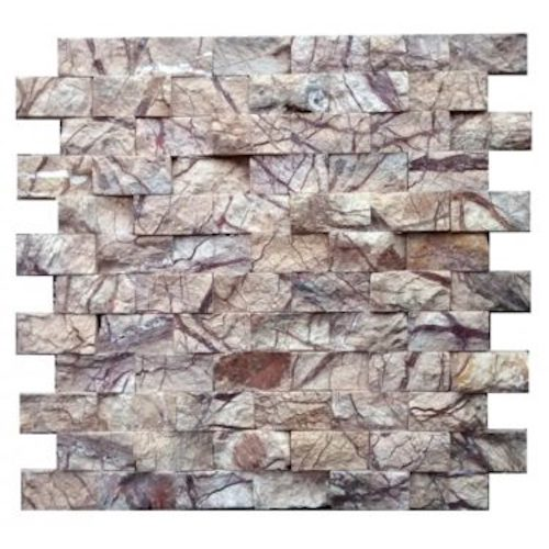 MARBLE-Rainforest-Brown-split-face-2x1-interlock-Mosaic Stone Supplier India