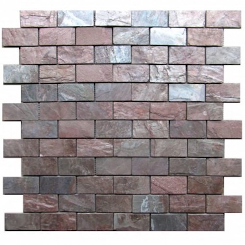 SLATE-Copper-Brick-Pattern-Natural-Top-36-pcs-on-mesh-Mosaic Stone Supplier India Rachana Stones care@rachanastones.com