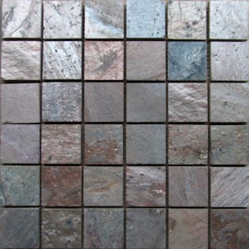 SLATE-Copper-Square-Pattern-Natural-Top-36-pcs-on-mesh-Mosaic Stone Supplier Rachana Stones India