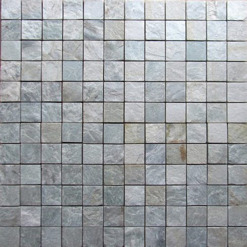 SLATE-Himachal-White-Square-Pattern-Natural-Top-36-pcs-on-mesh-Mosaic stone supplier Rachana Stones india