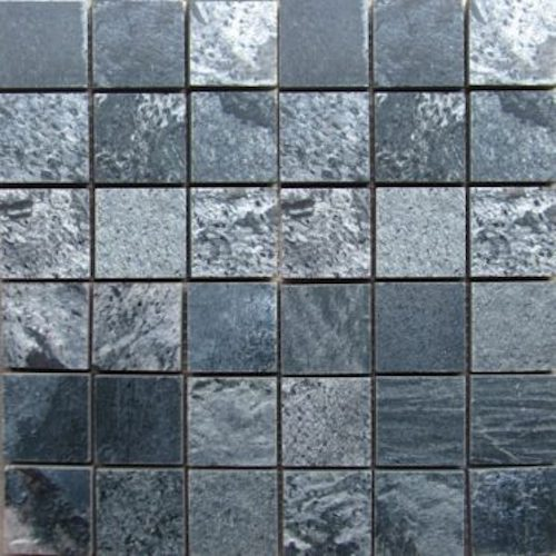 SLATE-Silver-Grey-Square-Pattern-Polished-Top-36-pcs-on-mesh-mosaic stone supplier rachana Stones India